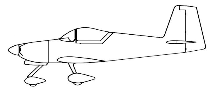 RV-7A and 9A Side View Drawing